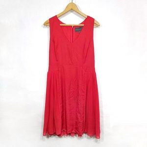 Anthro red pleat ruffle sleeveless midi dress 10